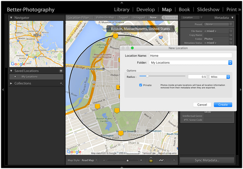 Sharing your photos Removing location data in Lightroom