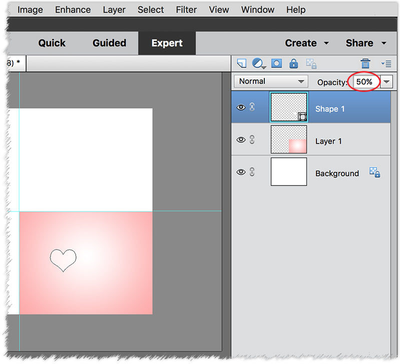 Valentine's Day card in Photoshop Elements