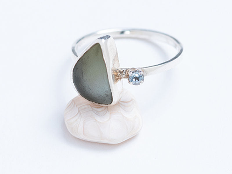 Sea Glass and Sterling Silver Rings