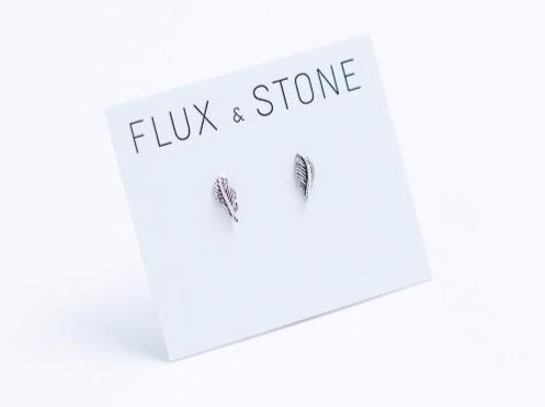 Sterling Silver Feather Studs // Earrings