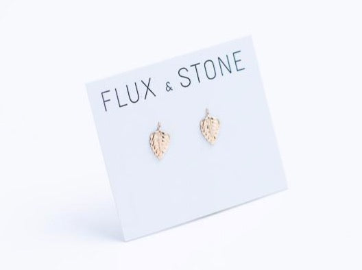 Gold Fill Leaf Studs // Earrings