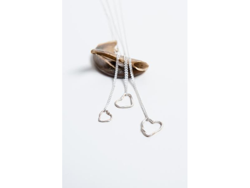Two Become One //  Fused Silver Heart Necklace