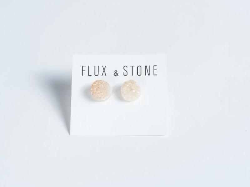 Druzy Studs // Champagne Quartz Earrings