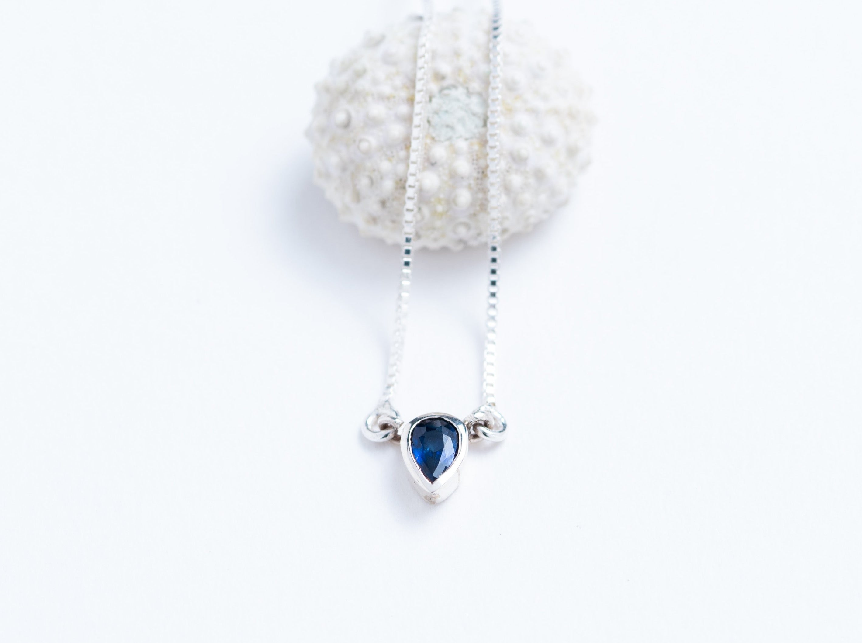 Faceted Sapphire and Sterling Silver Solitaire Pendant