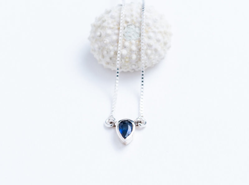 Faceted Sapphire and Sterling Silver Solitaire // Pendant