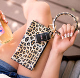 Leopard Mini Clutch with Key Ring Bangle