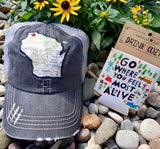 State Map Distressed Hats