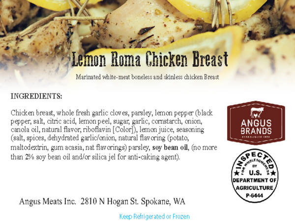 Lemon Roma Marinated Chicken Breast, Ready to Cook