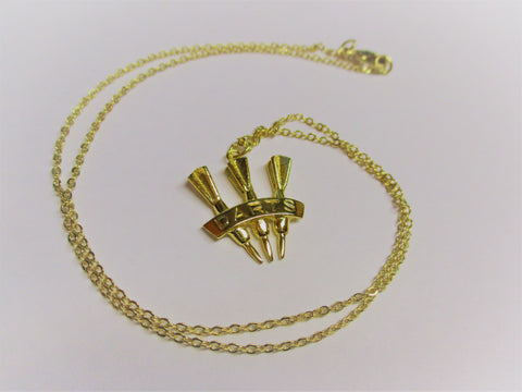 3 Darts Gold Colored Necklace