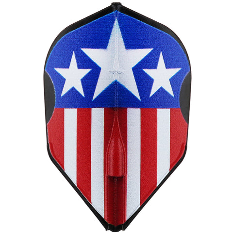 L-STYLE EZ CAPTAIN USA BLACK DART FLIGHTS - L3 / SHAPE