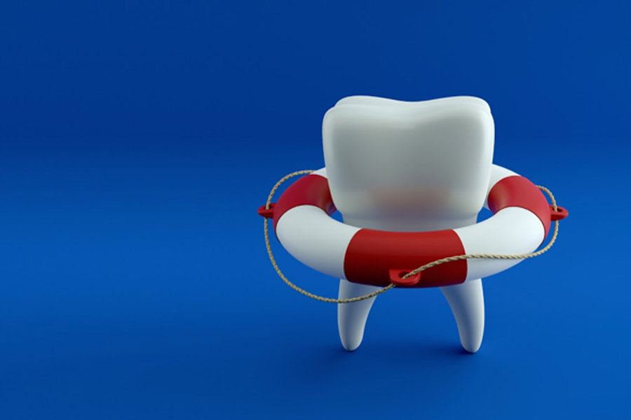 tooth with life ring buoy