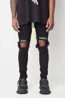 Black SS Jeans Neon Green