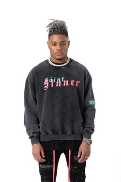 Saint Sinner Washed Heavy Cotton Sweatshirt Neon