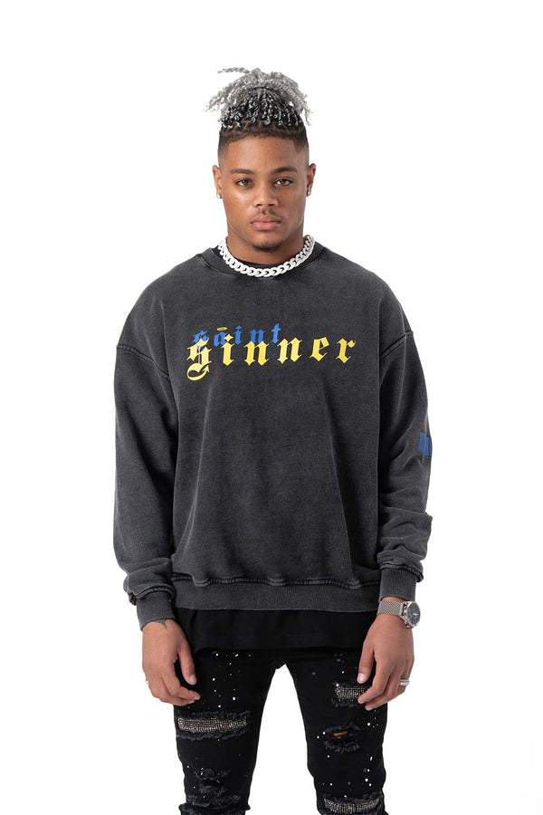 Saint Sinner Washed Heavy Cotton Sweatshirt Yellow
