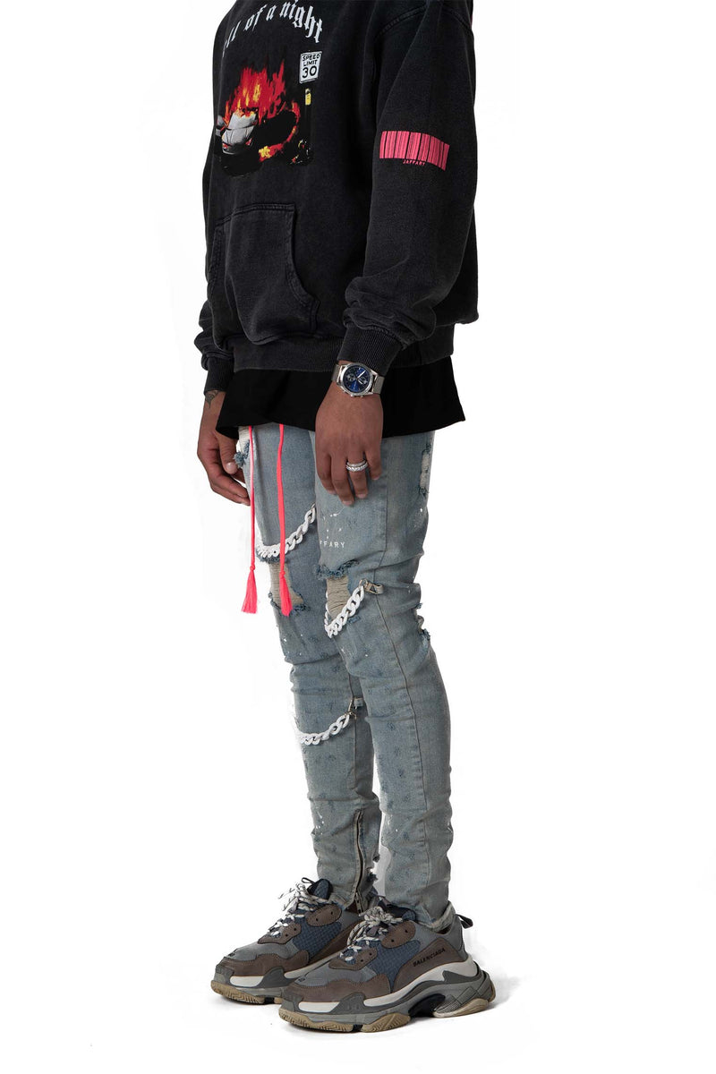 Detachable Cuban Link Denim Jeans Blue