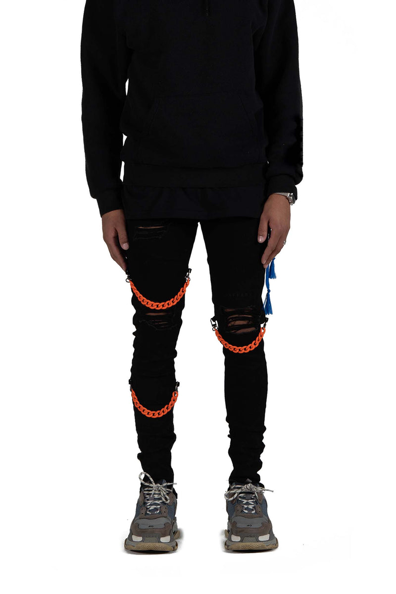 Detachable Cuban Link Jeans Black