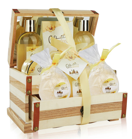 Spa Gift Basket Refreshing Rose & Jasmine Fragrance, Beautiful Wooden Jewelry Box with Mirror, Great Mothers day, Birthday or Anniversary Gift, Gift Set Includes Shower Gel, Bubble Bath, Bath Bombs and much More