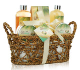 Spa Gift Basket with Rejuvenating Tropical Coconut Fragrance in Cute Woven Basket, Includes Shower Gel, Bubble Bath and More! Perfect Anniversary, Wedding, Birthday Or Mother's Day Gift Set for Women