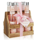 Spa Gift Basket with Cherry Blossom Fragrance, Wooden Cabinet with 6 Bottles, Great Mother's Day Gift, Birthday or Anniversary Gift Set For Women, Includes Shower Gel, Bubble Bath, Body Lotion & More