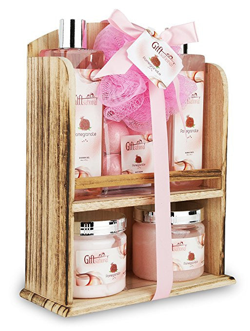 Spa Gift Basket With Lovely Pomegranate Fragrance Bath Set Includes Giftsational