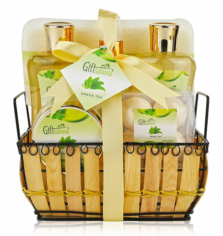 Spa Gift Basket with Rejuvenating Green Tea Fragrance - Great Wedding, Birthday, Anniversary or Graduation Gift for Women - Spa Bath Gift Set Includes Bubble Bath, Bath Salts, Bath Bombs and More!