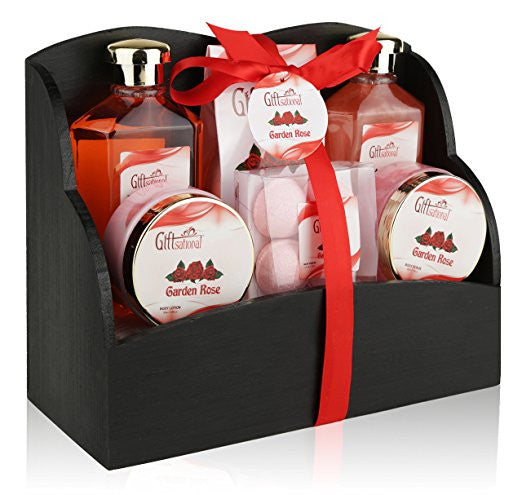 Spa Gift Basket with Heavenly Garden Rose fragrance - Gift set Includes Shower Gel, Bubble Bath, Bath Bombs Bath Salts and More! Great Birthday, Anniversary, Wedding or Graduation Gift for Women!