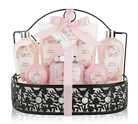 Spa Gift Basket with Heavenly Cherry Blossom Fragrance - Bath Set Includes Shower Gel, Bubble Bath, Bath Salts, Bath Bombs and more! Great Wedding, Anniversary, Birthday or Graduation Gift for Women