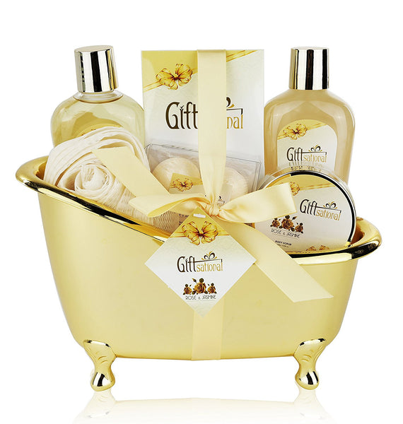 Spa Gift Basket with Sensual Rose & Jasmine Fragrance - Best Wedding, Anniversary, Birthday or Graduation Gift for Women and Girls - Spa Gift Set Includes Shower Gel, Bubble Bath, Bath Bombs and More!