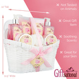 Spa Gift Basket with Pink Peony Fragrance, In Beautiful White Woven Basket, Perfect Gift For Your Mother, Wife or Friend, Gift Set Includes Bubble Bath, Shower Gel, Body Scrub, Body Lotion, Bath Salts, Body Cream, And More