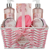 Cherry Blossom Spa Gift Basket, Includes Shower Gel, Bubble Bath, Bath Salts, Bath Bomb, And Much More, Great Birthday, Valentines Day, Mothers Day, or Christmas Gift Set for Women or Girls