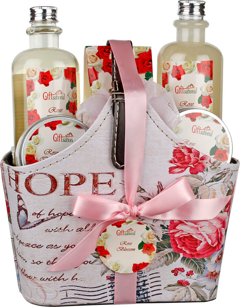 Spa Gift Basket with Refreshing Rose Blossom Fragrance, Lovely Rose Design with Stylish Belt Handle, Includes Shower Gel, Bubble Bath, Body Lotion, Body Cream and More, Great Christmas Gift for Women