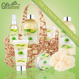 Spa Gift Basket with Refreshing Green Tea Fragrance, Best Mother's Day Gift, Birthday, Anniversary Gifts For Women, Girls, Set Includes Bubble Bath, Shower Gel, Body Scrub, Body Spray, Fizzers & More