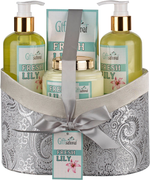Spa Gift Basket With Fresh Lily Fragrance, Includes Shower Gel, Bubble Bath, Body Lotion and Bath Salt, Great Birthday, Anniversary or Christmas Gift for Women or Teens