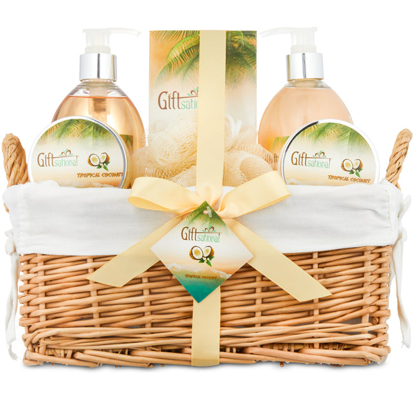 Spa Gift Basket with Tropical Coconut Fragrance in Large Willow Basket, Best Mother's Day Gift, Birthday, or Anniversary Basket for Women, Bath set Includes Shower Gel, Bubble Bath, Bath Bombs & More