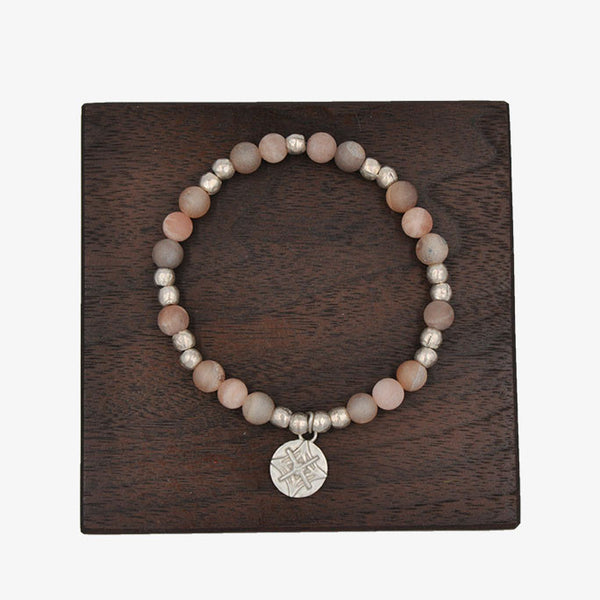 Matte Sunstone and Champagne Druzy Quartz Stretch Bracelet Set