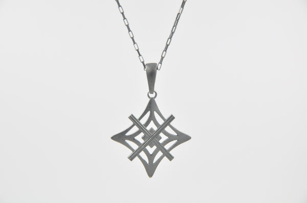 Signature Necklace Oxidized  - Large Symbol