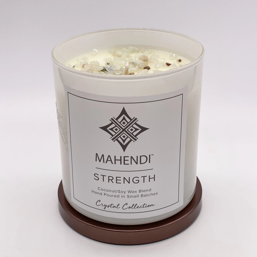 Strength & Prehnite Crystal Infused Candle