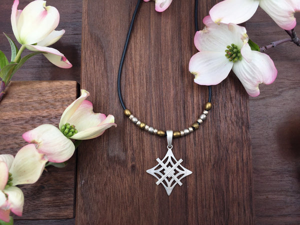 Short Mixed Metal and Rubber Cord Necklace - Silver Symbol