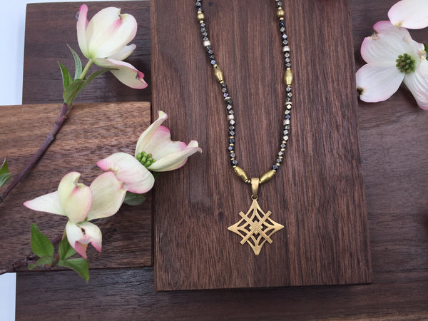 Mixed Metal Necklace - Gold Symbol