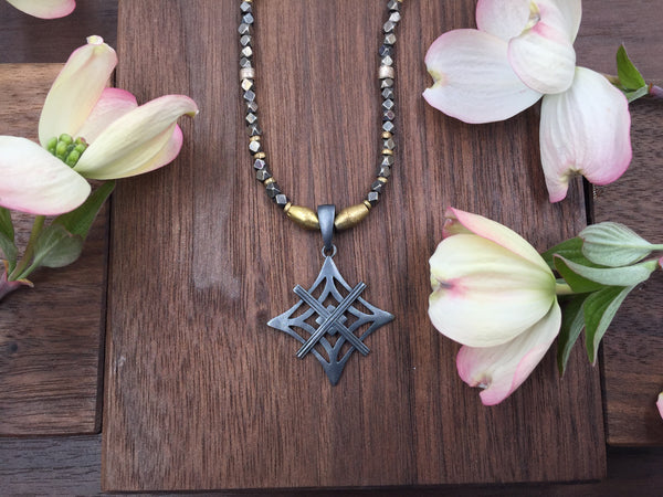 Mixed Metal Necklace - Oxidized Symbol