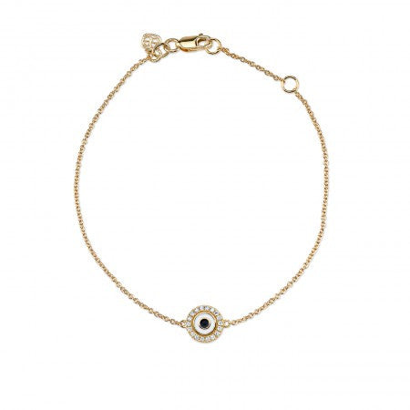 Sydney Evan - Small Yellow-Gold & Diamond White Enamel Evil Eye Bracelet-allforher.com