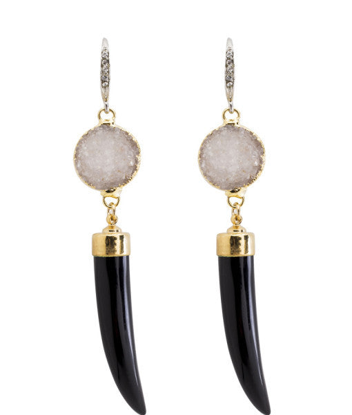 Neely Phelan - Druzy Horn Earrings-allforher.com