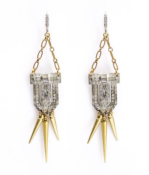 Neely Phelan - Vintage Dress Clip With Spikes Earrings-allforher.com