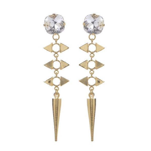 Jill Golden Jewels - Crystal Reflection Spike Earring-allforher.com