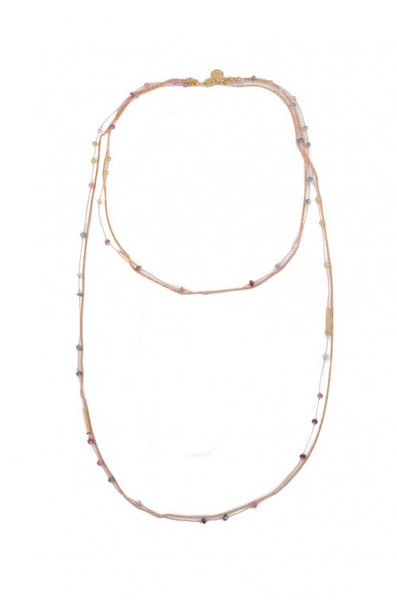 Dafne Alleno LLC - Satelite Double Layer Nude / Gold Necklace with Multi Color Sapphires-allforher.com