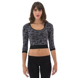 Electric Yoga - Army Printed Cropped Top-allforher.com