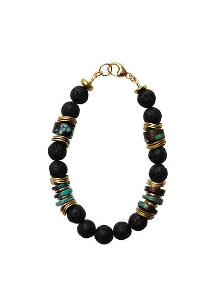 Heather Gardner - Black Lava Beads Bracelet-allforher.com