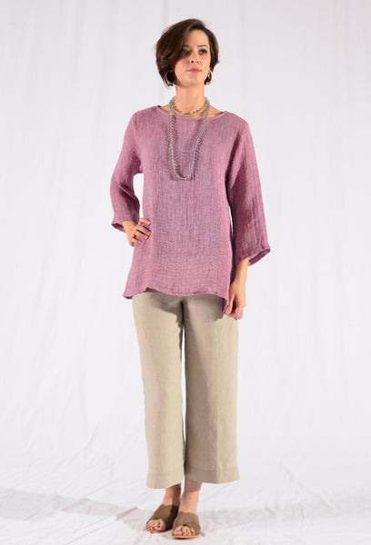 CTC Collection Limited - Linen Mesh Flared Cowl Pullover-allforher.com