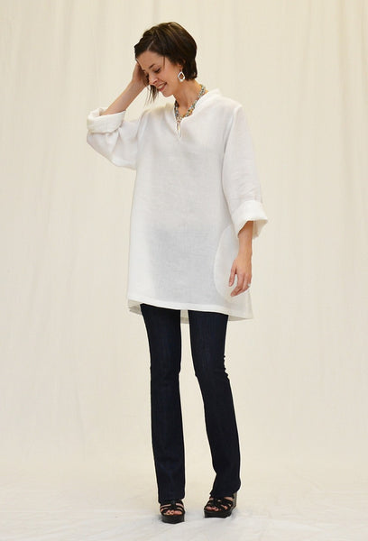 CTC Collection Limited - Linen Mandarin Collar Tunic-allforher.com