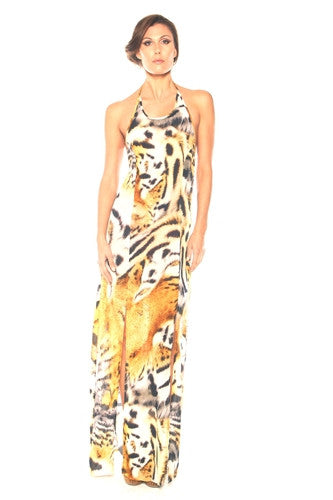 Shahida Paradise - Parides Safari Urban Jungle Tiger Print Straight Maxi Dress Long BE123-allforher.com